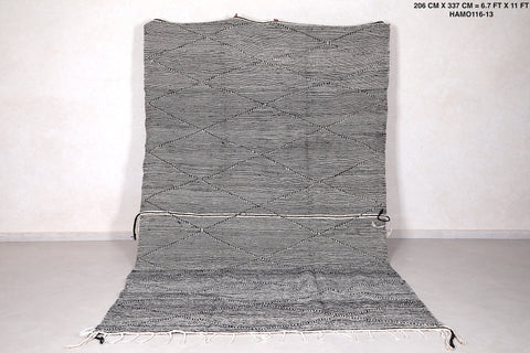 Moroccan Grey Berber carpet, 6.7 FT X 11 FT