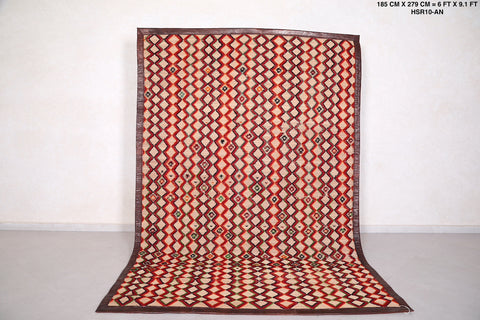 Moroccan hassira mat, 6.3 FT X 9.2 FT