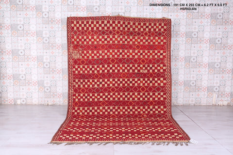 Moroccan hassira rug,  6.2 FT X 9.6 FT