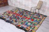 Boucherouite rug, Hand knotted rug, 5.7 FT X 7.9 FT