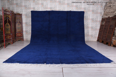Large moroccan rug blue 10 FT X 14.2 FT
