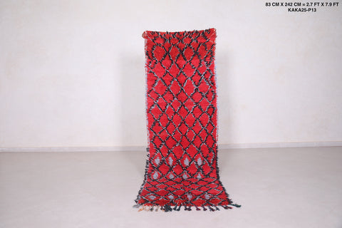 Red Runner moroccan rug,  2.7 FT X 7.9 FT