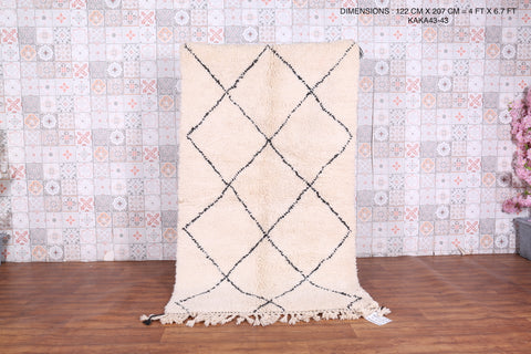 Wool Beniourain area rug 4 FT X 6.7 FT
