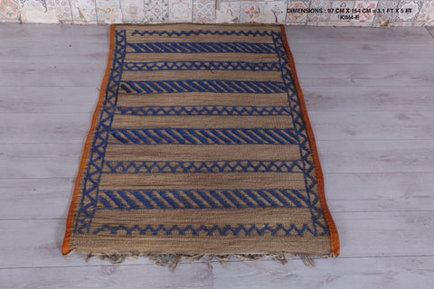 Moroccan rug, vintage straw hassira,  3.1 FT X 5 FT