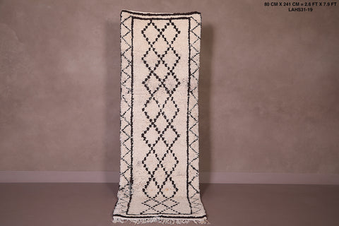 Hand woven Beni ourain rug, 2.6 FT X 7.9 FT