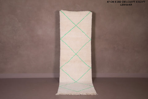 Moroccan Hallway rug with Green pattern, 2.8 FT X 9.2 FT