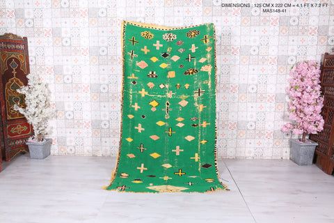 Green Moroccan rug 4.1 FT X 7.2 FT