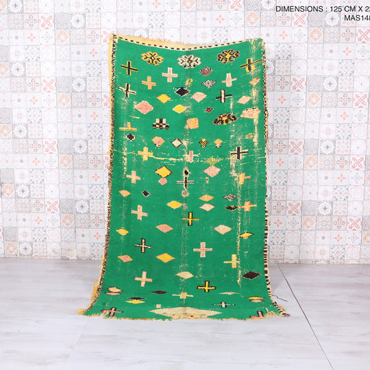 Green Moroccan rug, 4.1 FT X 7.2 FT