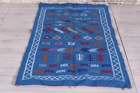 Handwoven Moroccan rug blue, 3 FT X 4.7 FT