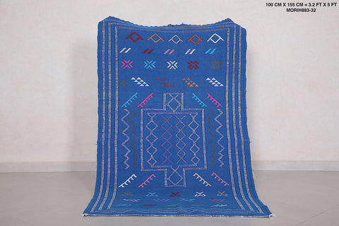 Handwoven Moroccan rug Blue, 3.2 FT X 5 FT