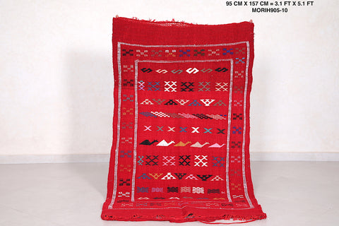 Red Moroccan rug, 3.1 FT X 5.1 FT