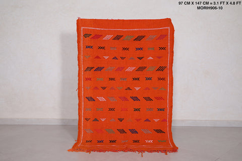 Orange Moroccan rug,  3.1 FT X 4.8 FT