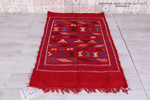 Red Moroccan rug, 3.2 FT X 5 FT
