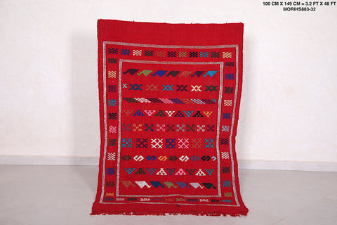 Moroccan rug red, 3.2 FT X 4.8 FT