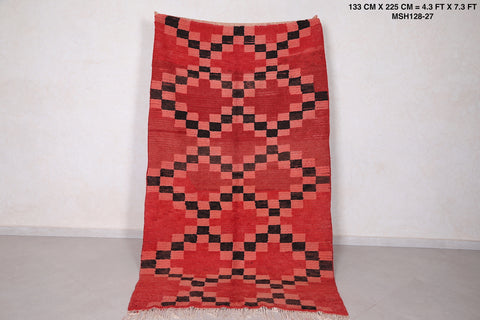 Runner moroccan rug red,  4.3 FT X 7.3 FT