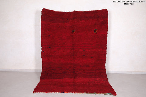 Moroccan rug red 5.8 FT X 8.1 FT
