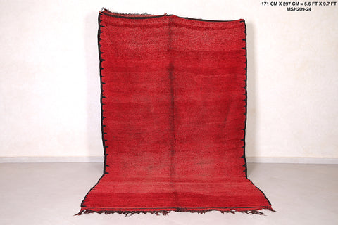 All Wool moroccan rug red,  5 FT X 11.4 FT