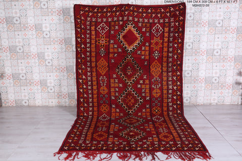 Antique Moroccan rug 6 FT X 10.1 FT
