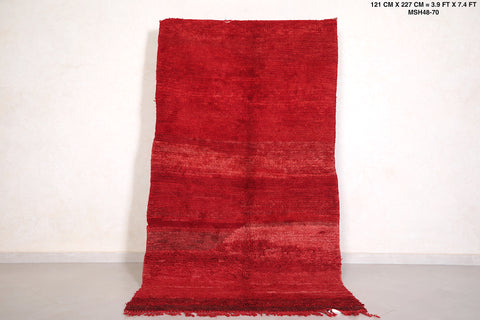 Red Moroccan rug 3.9 FT X 7.4 FT
