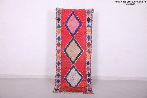 Red Berber Azilal rug 2.4 FT X 6.5 FT