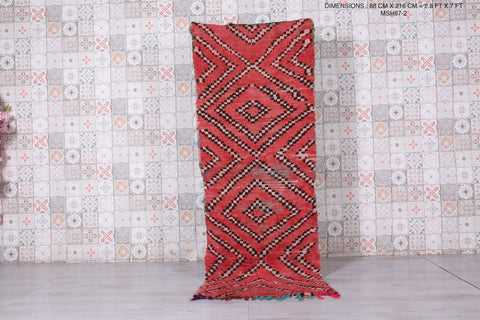Moroccan Hallway rug red 2.8 FT X 7 FT