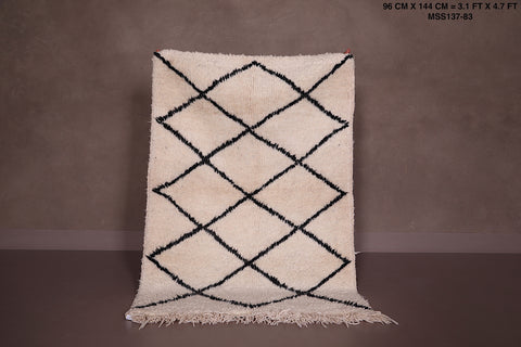 All Wool Moroccan rug, 3.1 FT X 4.7 FT, Beni ourain berber carpet
