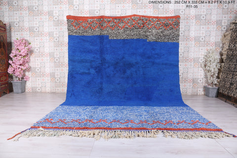 Moroccan Blue rug 8.2 FT X 10.9 FT