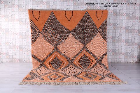 Orange beni ourain rug 8.1 FT X 10.1 FT
