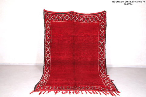Hand Woven Moroccan berber rug red , 6.2 FT X 10.2 FT