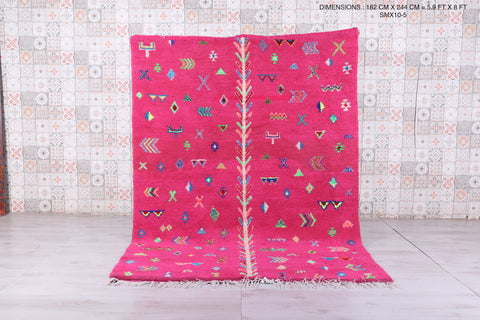 Moroccan rug pink 5.9 FT X 8 FT