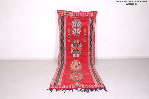 Moroccan rug red, 3.8 FT X 10.6 FT