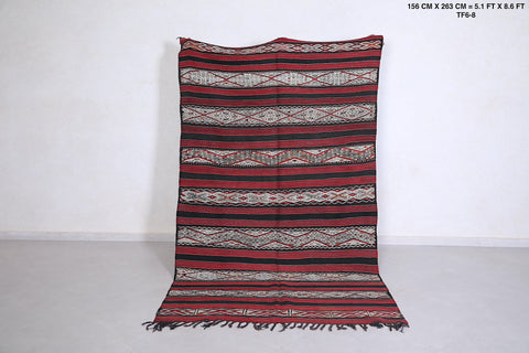 Hand woven moroccan rug, 5.1 FT X 8.6 FT