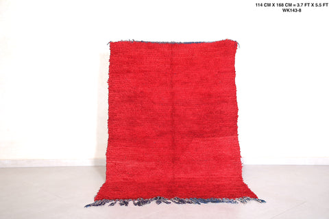 Red Moroccan rug, 3.7 FT X 5.5 FT