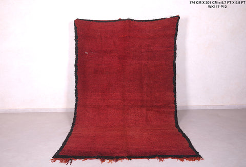 Solid moroccan rug red, 5.7 FT X 9.8 FT