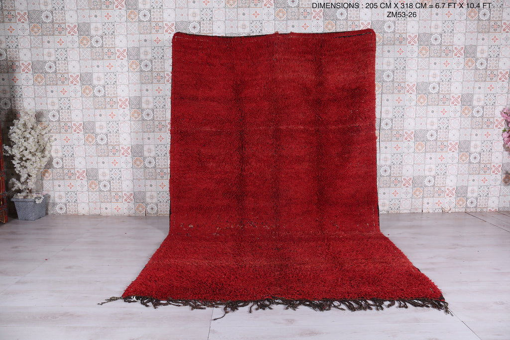 Moroccan Solid red rug,  6.7 ft x 10.4 ft, Hand knotted carpet,