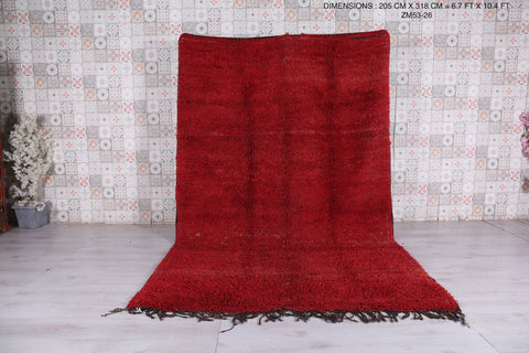 Moroccan Solid red rug,  6.7 FT X 10.4 FT , Hand knotted carpet,
