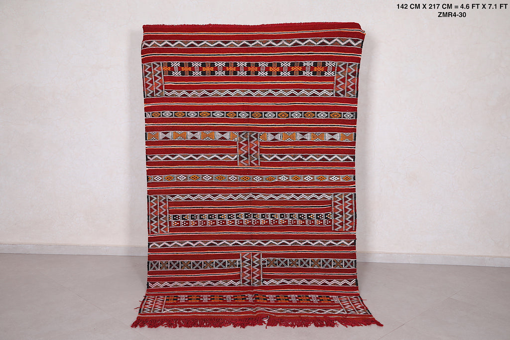 Moroccan kilim, 4.6ft x 7.11ft