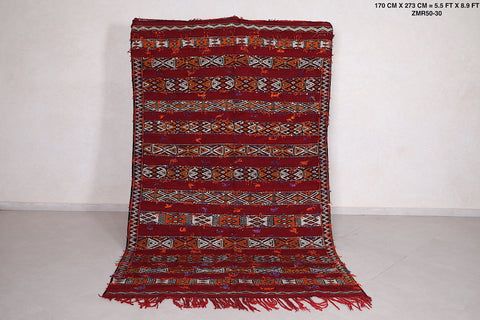Handwoven Moroccan kilim, 5.5 FT X 8.9 FT