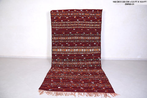 Wool and Silk Berber Kilim, 5.5 FT X 10.9 FT