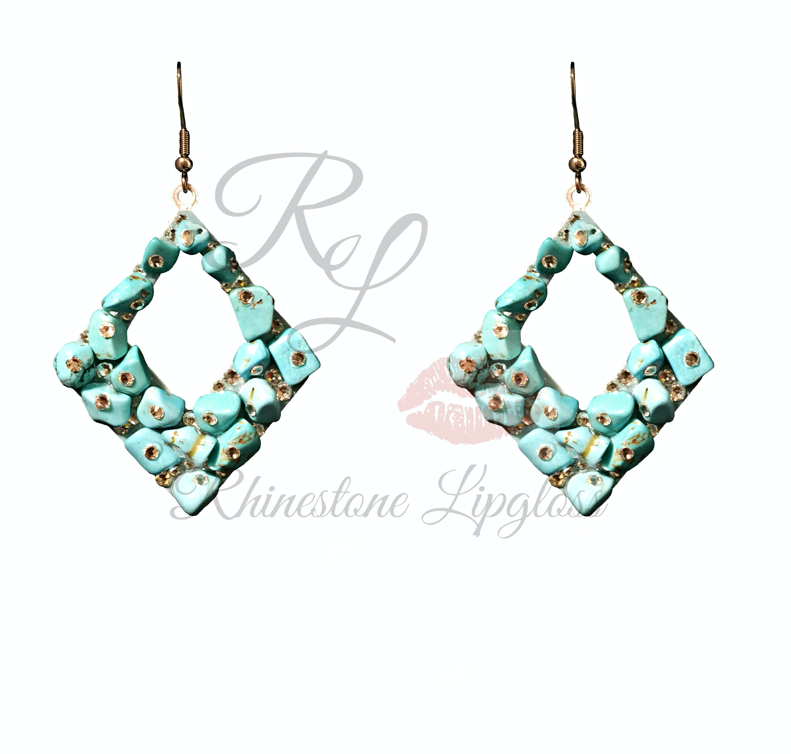 Deal Me Diamonds Exclusive Natural Turquoise/Clear