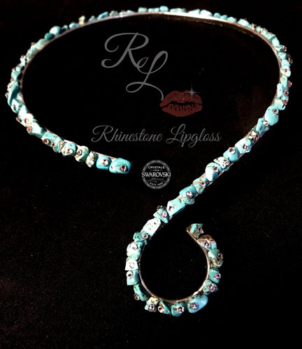 Necklace Swirl Choker with Natural Turquoise/Clear Swarovski Accents