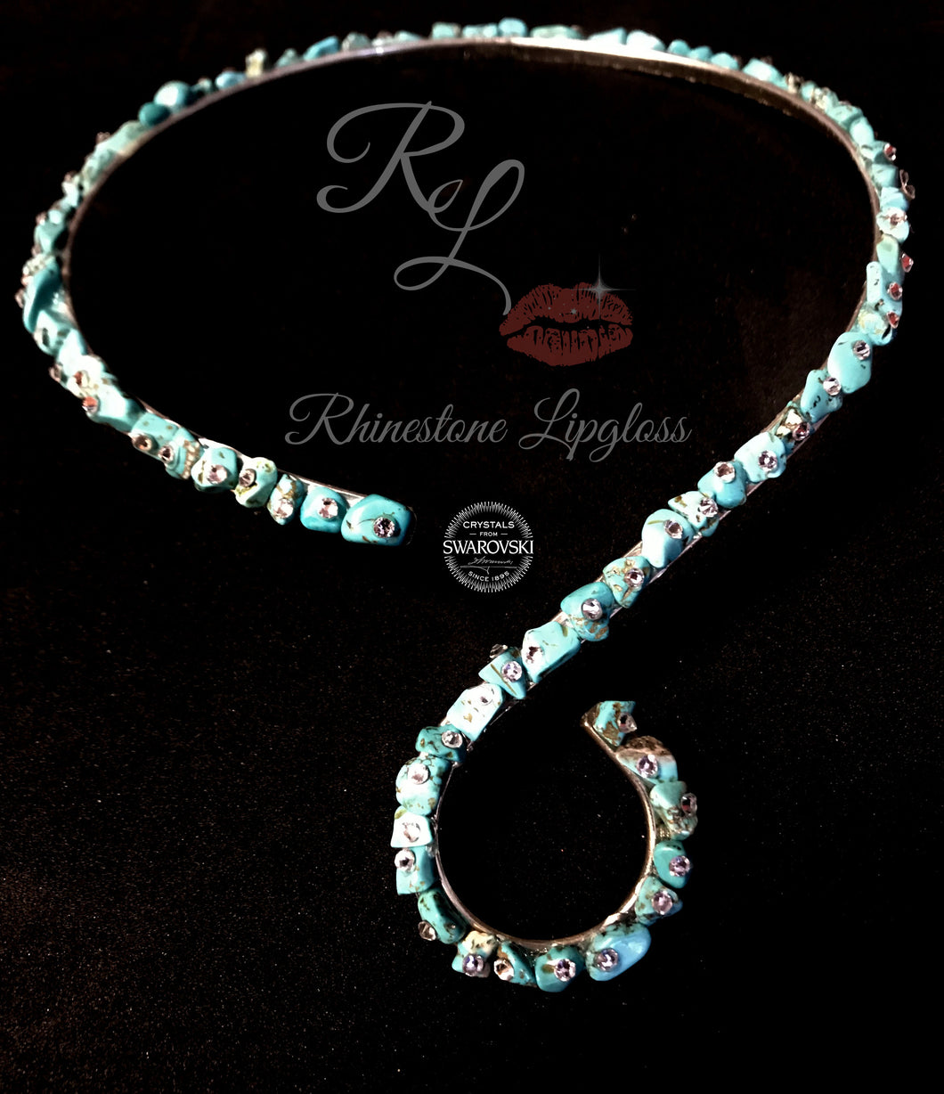 Swirl Choker with Natural Turquoise/Clear Swarovski Accents