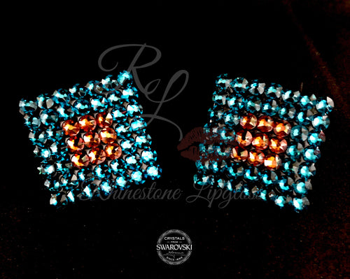 Diamond Blue Zircon Double Outline Copper Fill