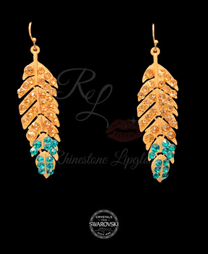 Feather Light Colorado Topaz Base with Blue Zircon Tip, Gold Base