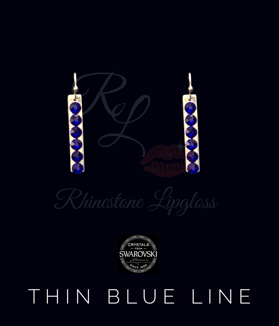 Bar 'Thin Blue Line' Earrings