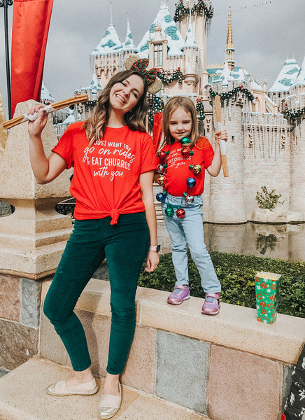 Friday apparel custom Disneyland treats mommy and me Christmas shirts