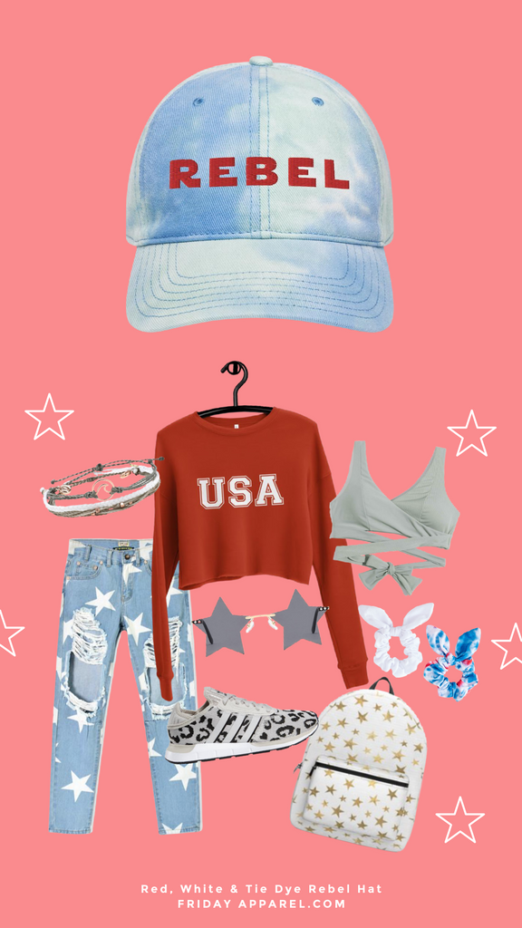 friday apparel tie dye rebel hat usa cropped sweater gold star backpack swimsuit bikini top 4th of July scrunchies pure vida bracelet stack star ripped jeans leopard Adidas star sunglasses