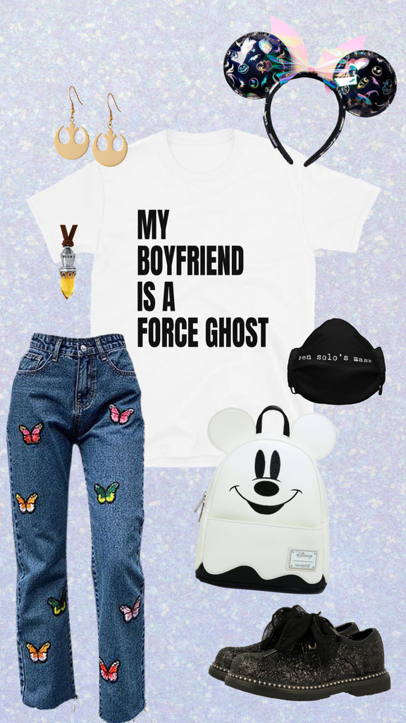 my boyfriend is a force ghost shirt halloween disney outfit ideas Mickey ghost lounge fly backpack haunted mansion ears butterfly embroidered denim jeans ben solo's face mask shop friday apparel Star Wars