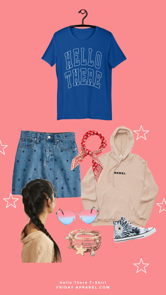 friday apparel hello there shirt obi Wan Kenobi attack of the clones Star Wars prequels star skirt made well red bandana rebel sueded fleece embroidered hoodie sand asian braid hair star sunglasses 4th of July converse Alex and ani bracelets
