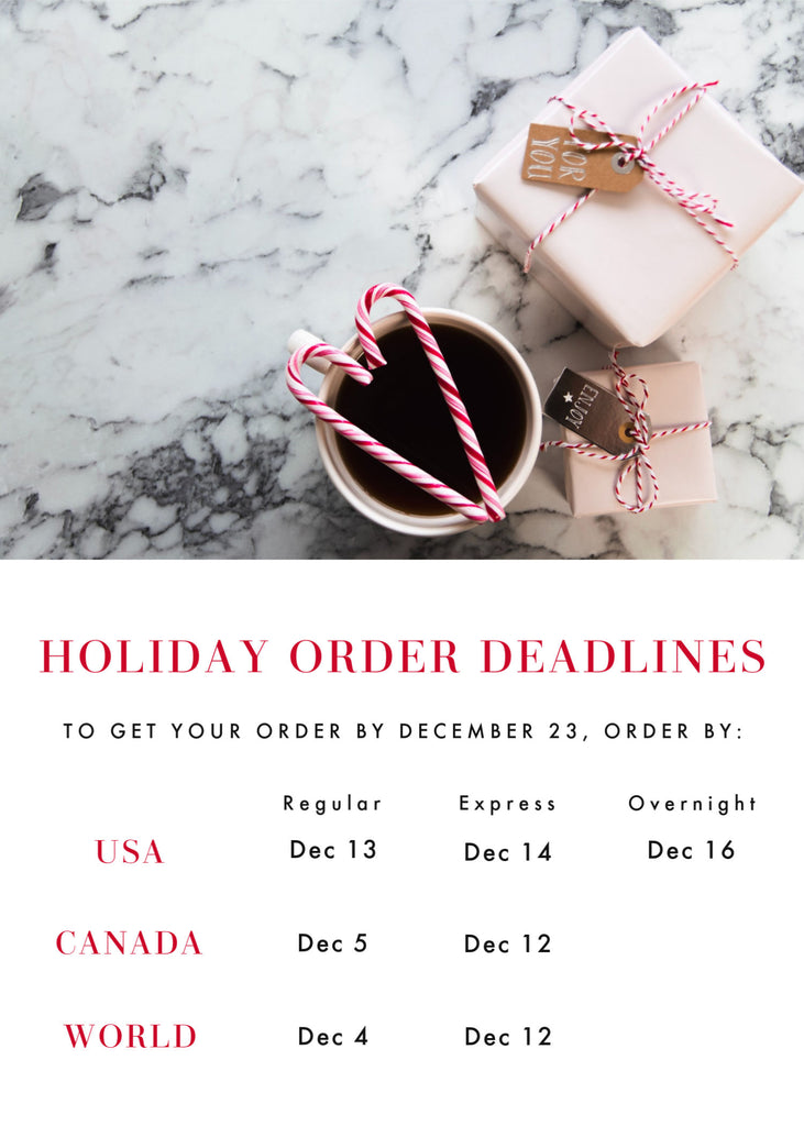 holiday order deadlines Friday apparel women's clothing